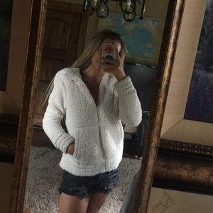 White Puffy Fur Jacket